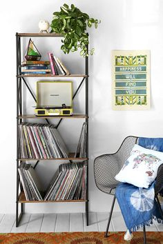 Tall Bookcase for record player/ albums and books
