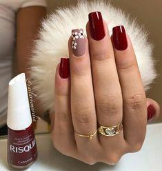 nails - Não fique fora da moda, veja essa dica e ligada nas tendência de lindas unhas! Cute Acrylic Nails, Glitter Nails, Cute Nails, Perfect Nails, Gorgeous Nails, Nailart, Nails Polish, Burgundy Nails, Burgundy Nail Designs