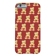 Customizable teddy bear iPhone 6 case with a pattern of cute teddy bears holding red hearts and hypnotizing you with its unblinking gaze, on dark red background. This lovely huggable teddy bear iPhone case would be a great gift for girl or someone you love.
