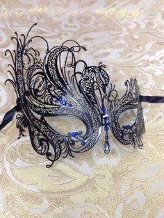 Black and Blue metal laser cut mask for birthday girl