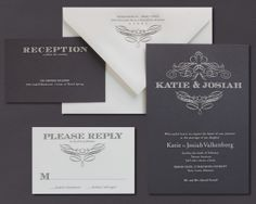 Our Pewter invitation is shown here engraved in charcoal and oyster inks.