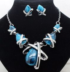 fashion new beautiful drop blue brand hot styles jewelry sets fashion bridal party necklace and earring sets gift free shipping