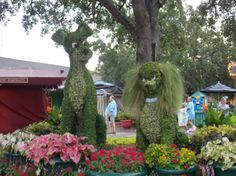 Lady and the Tramp topiaries, Downtown Disney