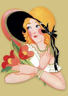 Art Deco Woman in Straw Hat Art Print | Bridge Table Deco Anytime Art Prints