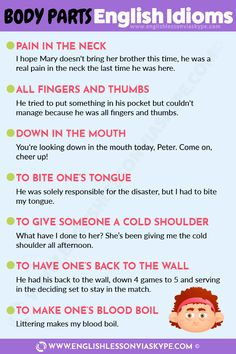 20 English Idioms Related to Body Parts - Intermediate Level English English Time, English Fun, English Idioms, English Phrases, English Lessons, English Grammar, Learn English, Spanish Grammar, English Language