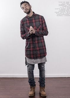 Stylish urban look for men - long checkered shirt, skinny jeans