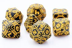 Tech Dice (Black-Orange) | RPG Role Playing Game Dice Set