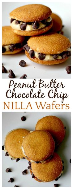 Such a fun, yummy cookie recipe! Leave Santa a little something new this Christmas with these Peanut Butter Chocolate Chip NILLA Wafer Sandwiches - creamy peanut butter icing topped with mini chocolate chips squeezed between two crunchy NILLA wafers! Delicious Cookie Recipes, Best Cookie Recipes, Best Dessert Recipes, Sweet Desserts, Easy Desserts, Sweet Recipes, Baking Recipes, Bar Recipes, Cookie Desserts
