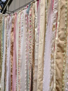 Shabby Chic Boho Rustic Fabric Garland Backdrop - Ribbon Fabric Wall - Nursery, Gypsy Festival Curtain, Room Decor - Glamping - 10 ft x 6 ft...
