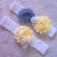 2 pc  GRAY/YELLOW Wedding bridal prom Garter by RoseGardenBridal, $21.99