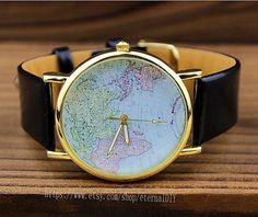 schwarzes Lederband Welt Karte Wrist Watch Mens Armbanduhren Unisex Uhr Frauen Watche
