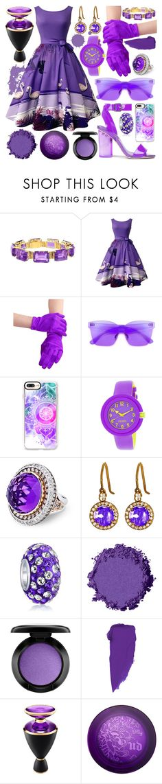 """""""Purple Party 10"""" by modaehestilo ❤ liked on Polyvore featuring Etiquette, Casetify, Crayo, Suzanne Kalan, Bling Jewelry, MAC Cosmetics, Bulgari and Urban Decay"""
