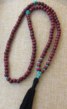 Rosewood Mala Necklace  Buddhist Mala Turquoise Mala by BBTresors