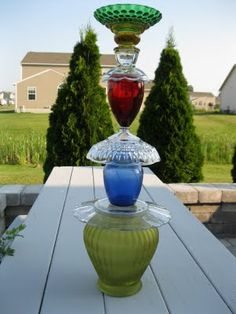 VARIOUS glass vases and dishes and bowls, using epoxy to hold together and have a decoration for the garden!