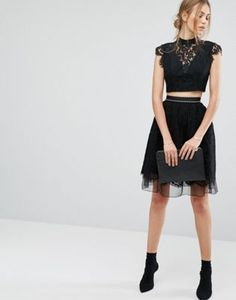 French Connection Spotlight Lace Flared Tutu Skirt
