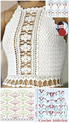 Hexagon Crochet Pattern, Crochet Borders, Crochet Motif, Crochet Stitches, Free Crochet, Crochet Patterns, Crochet Crop Top, Crochet Cardigan, Crochet Bikini