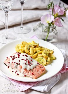Roasted Salmon with Pink Peppercorn Sauce #juliesoissons