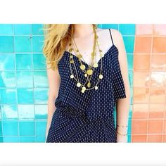 #sokostyle - @lindseyjoy09 styles the Layered Coin Necklace with an easy polka dot dress.