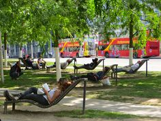 Lounge chairs near Cathedral of St Michael and St Gudula in Brussels, Belgium.