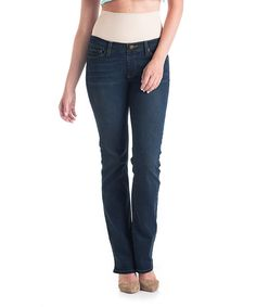 Look at this Tummy Trimmer Denim Dark Wash Bootcut Jeans on #zulily today!