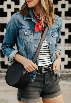 {Circle bag and denim.}