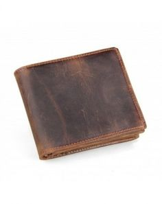 Crazy Horse Genuine Leather Wallet Men's Bifold Cowhide Leather Standard Purse With Card Holder Interior Zipper Pocket. Cowhide Leather, Leather Men, Leather Fashion, Handmade Wallets, Man Purse, Handmade Leather Wallet, Front Pocket Wallet, Minimalist Wallet, Rfid Wallet