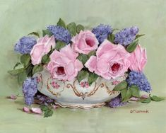 PRINT ON PAPER - Spring Lilacs and Roses - FREE POSTAGE WORLD WIDE