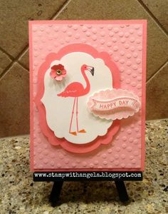 I made this card to put into my daughter's lunch. She loves the color pink and adores flamingos, so I thought this set was perfect for her.
