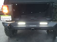 rear bumper with accessory LED reverse lighting illuminated Wrangler Unlimited Sport, 2016 Jeep Wrangler, 2001 Jeep Cherokee, Jeep Bumpers, Jeep Mods, Bar Led, Chrysler Dodge Jeep, Led Flood Lights, Fender Flares