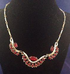 Vintage Coro Ruby Red Rhinestone Necklace Goldtone Stunning #Coro