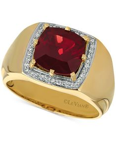 Le Vian® Gents™ Ring.  He'll look simply divine in this elegant Le Vian men's cushion-shape Pomegranate Garnet™ and Vanilla Diamonds® ring set in 14k gold.