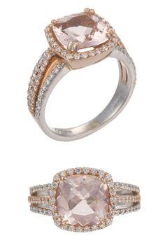 Rose & White Gold // Morganite & Diamonds Ring ♡ L.O.V.E.
