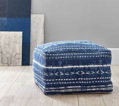 Taking a page from the ancient Japanese dyeing technique, the Shibori Print Pouf inspires wanderlust and adds global style to living spaces. Use as a footrest with your coziest armchair or as an extra seat for your next gathering.