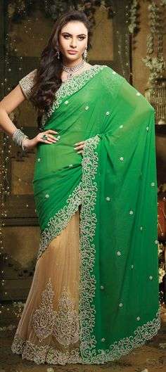 133474, Bridal Wedding Sarees, Georgette, Net, Stone, Patch, Cut Dana, Green, Beige and Brown Color Family  #Bridalwear #lehengasaree #dualtone
