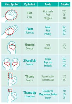 great Food Chart that uses your hand as a guide for portion