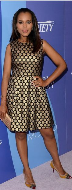 Kerry Washington: Dress – Vince Camuto  Shoes – Christian Louboutin  Purse – Nancy Gonzalez