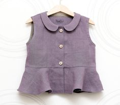 Girls linen peplum top - Peter Pan collar, Sleeveless girls blouse, Lavender, purple, front button  for 4-5 years old, Size US4 (EU 104)   $40