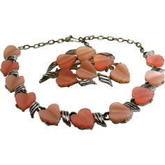 Coro Vintage Thermoplastic Necklace Brooch Set Pink Heart Shape. Vintage Jewelry under $25 at Ruby Lane @Ruby Lane