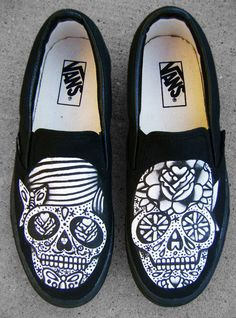 awesome day of the dead skulls painted on vans
