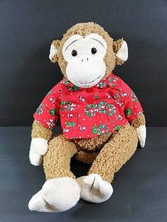"""13"""" Brown MONKEY In Christmas Shirt Mouse In The House Plush Stuffed Toy B274"""
