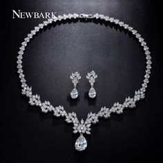 Find More Jewelry Sets Information about NEWBARK Water Drop & Flower Cluster…