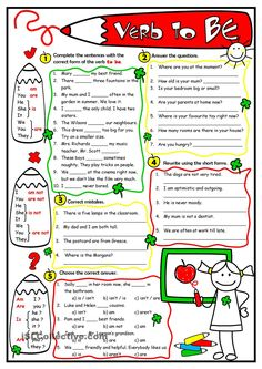 Verb -To Be- Language: English Grade/level: elementary School subject: English as a Second Language (ESL) Main content: Verb to be Other contents: present forms of to be English Test, English Verbs, Kids English, English Lessons, Learn English, English Language, Second Language, Teach English To Kids, Teaching English Grammar