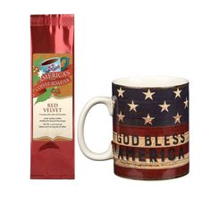 7952a71a God Bless America Land That I Love Mug with Red Velvet Coffee Gift Set (2