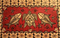 Tapa cloth depicting sea creatures and flowers of Tonga.