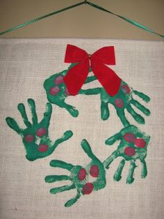 Handprint Wreath on Burlap