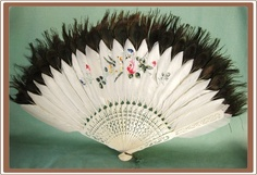 Antique Chinese Peacock Feather and Ox Bone Fan Hand Painted
