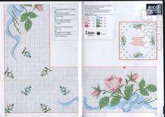 tovaglietta da ricamare con rose rosa chiaro - magiedifilo.it punto croce uncinetto schemi gratis hobby creativi