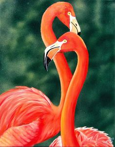 Flamingos Painting by Debbie LaFrance - Flamingos Fine Art Prints and Posters for Sale
