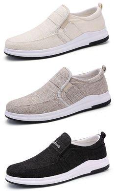 Men Linen Elastic Slip On Breathable Flat Casual Shoes - Trends 📌 Discount Mens Shoes, Cheap Mens Shoes, Mens Shoes Sale, Mens Shoes Online, Knit Shoes, Suede Shoes, Men's Shoes, Dress Shoes, Shoes Men