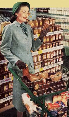 Grocery shopping housewife, wearing gloves a suit and stockings of course Retro Humor, Vintage Humor, Vintage Ads, Vintage Shops, Retro Funny, Funny Vintage, Retro Ads, Ask The Dust, Pop Art